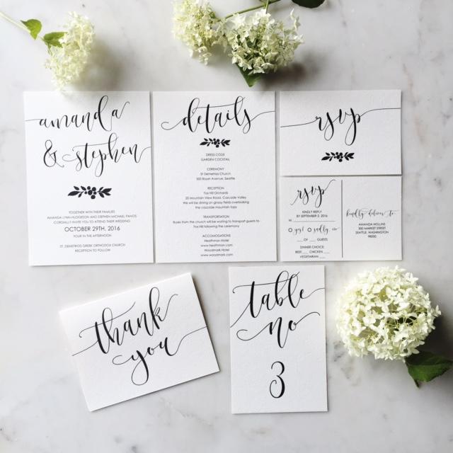 Modern Calligraphy Wedding Invitation Suite in Etsy Shop | Frella